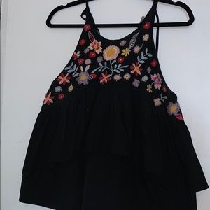 Black ZARA embroidered floral top size L